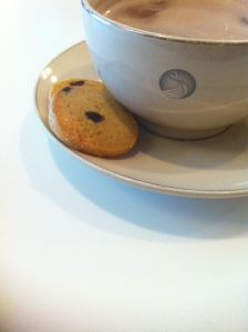 cup of hot chocolate with cookies on the saucer