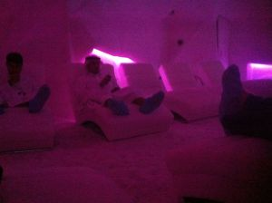 men relaxing in the salt cave & spa, wafi mall, dubai
