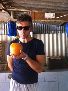 fresh coconut from masafi friday market, fujayrah, UAE off-road trip