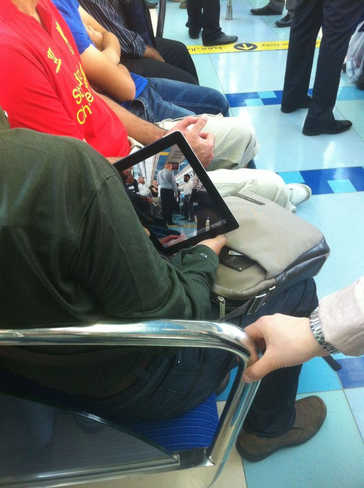 ipad video on the dubai metro