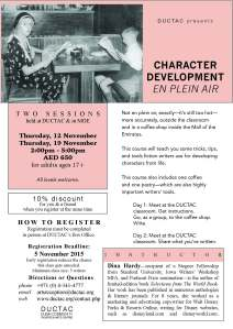 Hardy_character dev_November 2015 DUCTAC creative writing course