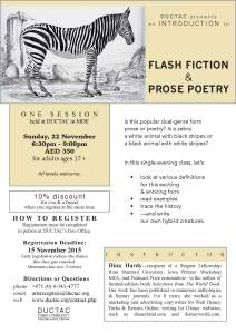 Hardy_flash fiction prose poetry_November 2015 DUCTAC creative writing course