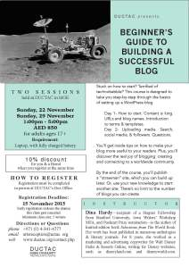 Hardy_how to blog_November 2015 DUCTAC creative writing course