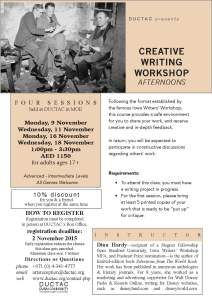 Hardy_workshop afternoon_November 2015 creative writing course DUCTAC