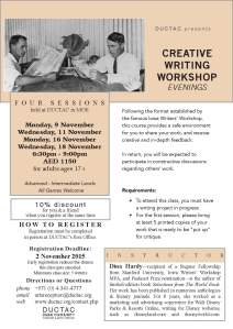 Hardy_workshop evenings_November 2015 DUCTAC creaive writing course
