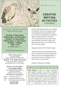 Hardy_writing activities evenings_November 2015 creative writing course DUCTAC